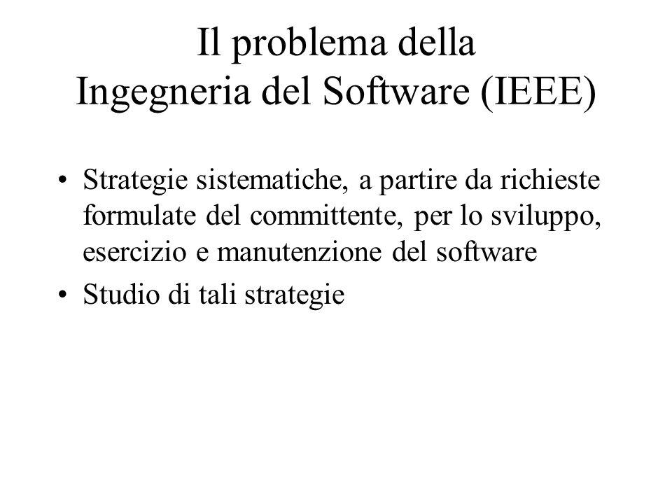 Il problema della Ingegneria del Software (IEEE) Strategie sistematiche, a partire da richieste formulate del committente, per lo sviluppo, esercizio