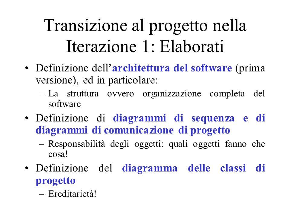 Transizione al progetto nella Iterazione 1: Elaborati Definizione dellarchitettura del software (prima versione), ed in particolare: –La struttura ovv