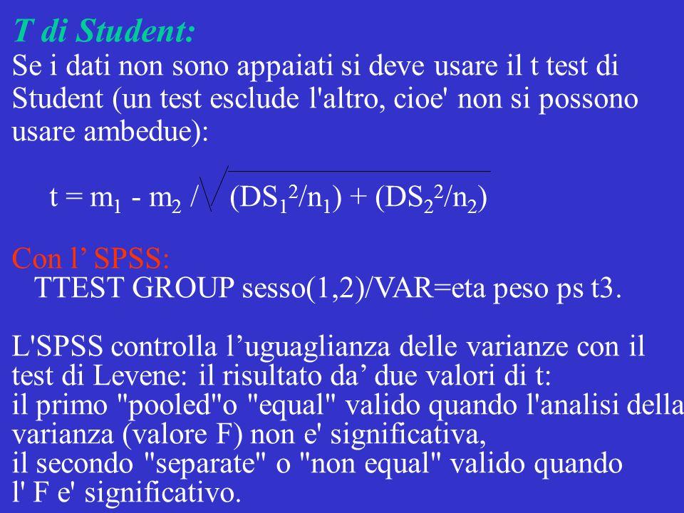 T di Student: Se i dati non sono appaiati si deve usare il t test di Student (un test esclude l'altro, cioe' non si possono usare ambedue): t = m 1 -