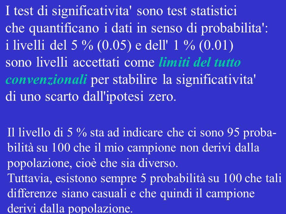 I test di significativita' sono test statistici che quantificano i dati in senso di probabilita': i livelli del 5 % (0.05) e dell' 1 % (0.01) sono liv