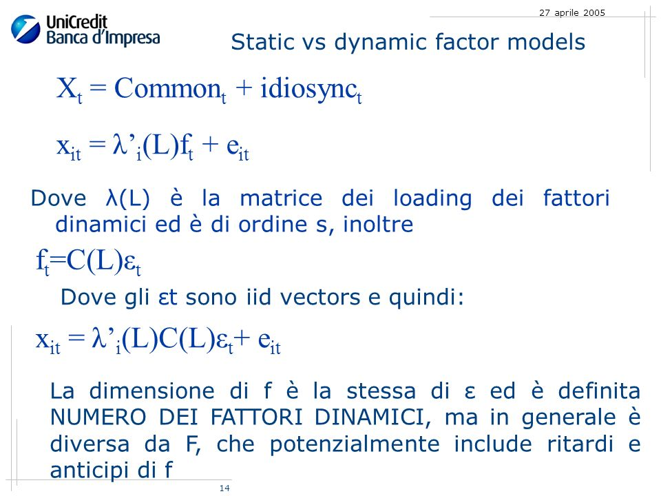14 27 aprile 2005 Static vs dynamic factor models X t = Common t + idiosync t x it = λ i (L)f t + e it f t =C(L)ε t Dove gli εt sono iid vectors e qui