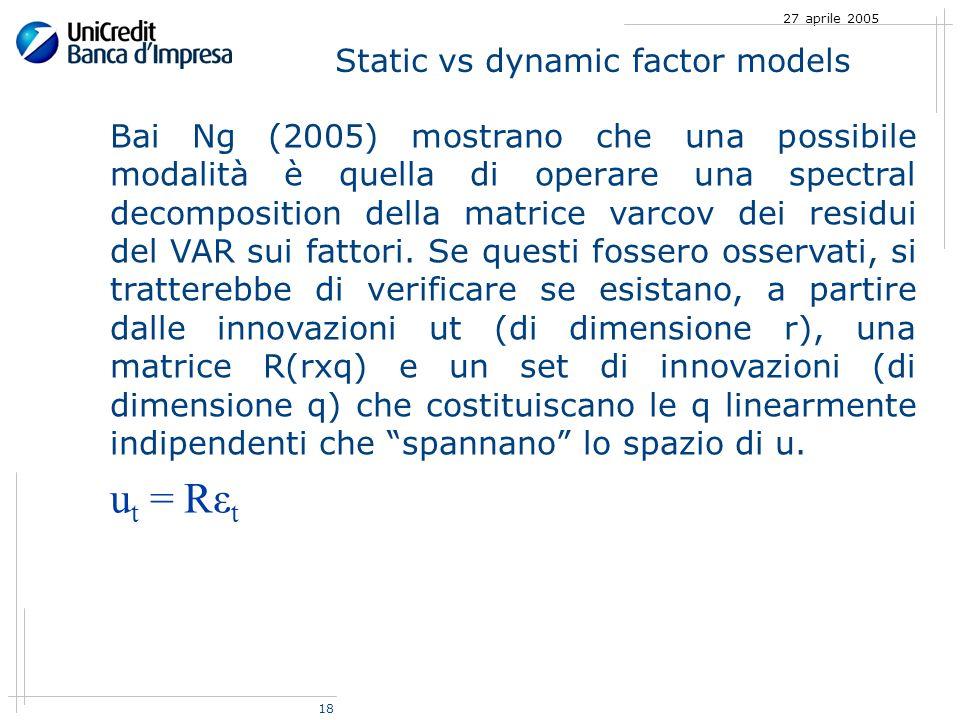 18 27 aprile 2005 Static vs dynamic factor models Bai Ng (2005) mostrano che una possibile modalità è quella di operare una spectral decomposition della matrice varcov dei residui del VAR sui fattori.