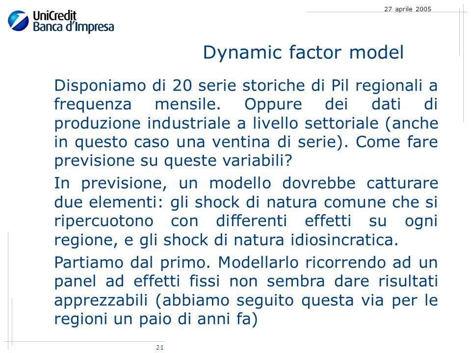 21 27 aprile 2005 Dynamic factor model Disponiamo di 20 serie storiche di Pil regionali a frequenza mensile.