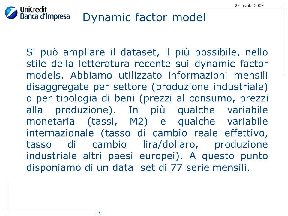 23 27 aprile 2005 Si può ampliare il dataset, il più possibile, nello stile della letteratura recente sui dynamic factor models.