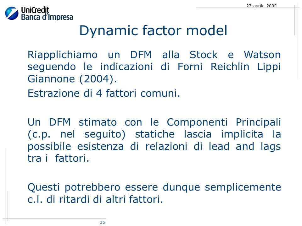 26 27 aprile 2005 Riapplichiamo un DFM alla Stock e Watson seguendo le indicazioni di Forni Reichlin Lippi Giannone (2004).