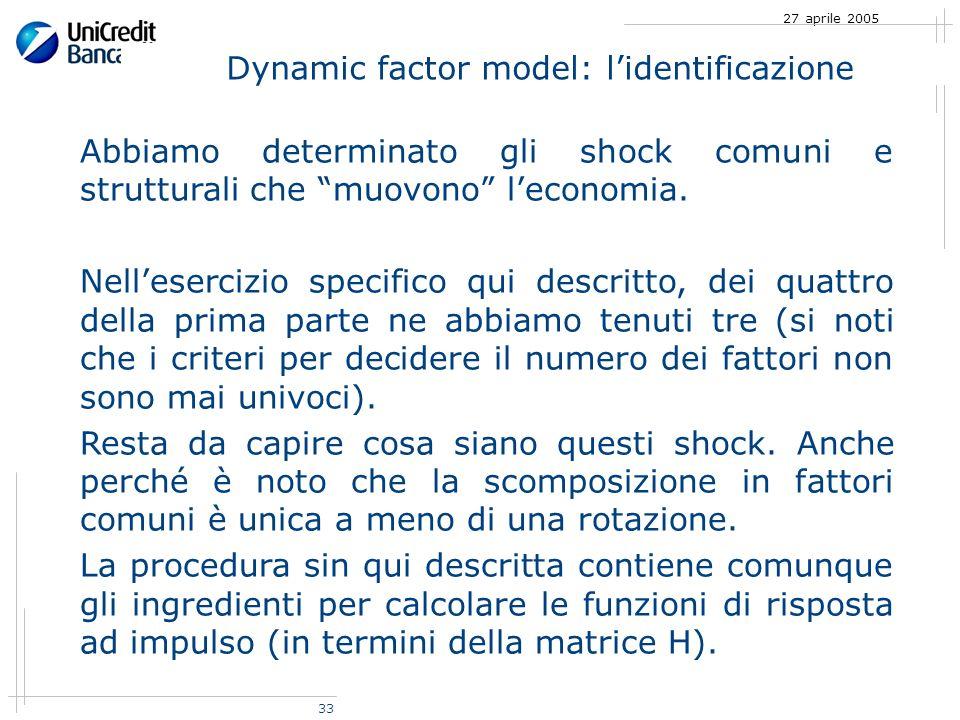 33 27 aprile 2005 Abbiamo determinato gli shock comuni e strutturali che muovono leconomia.
