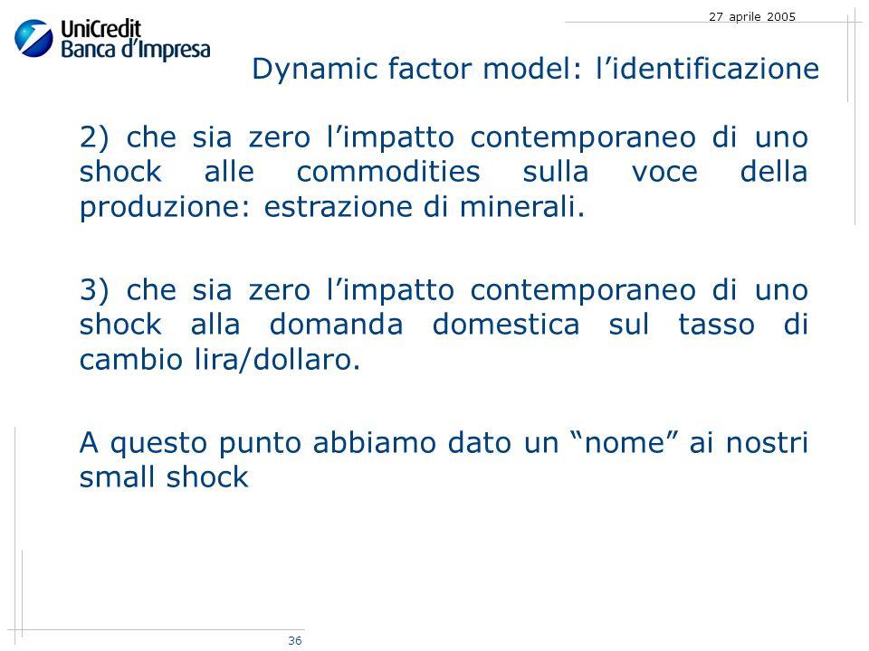 36 27 aprile 2005 2) che sia zero limpatto contemporaneo di uno shock alle commodities sulla voce della produzione: estrazione di minerali.