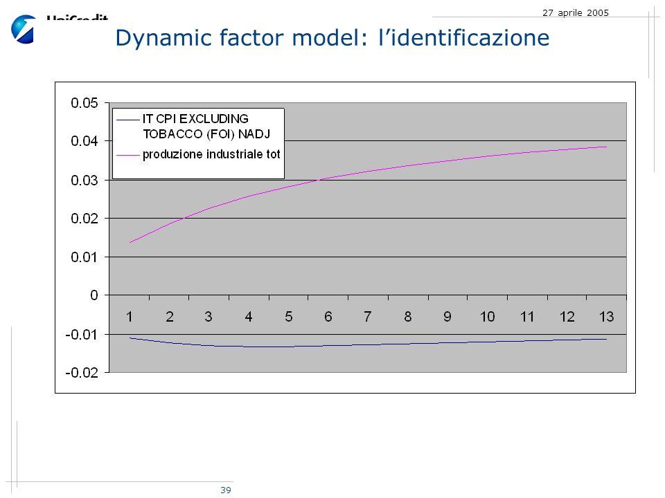 39 27 aprile 2005 Dynamic factor model: lidentificazione