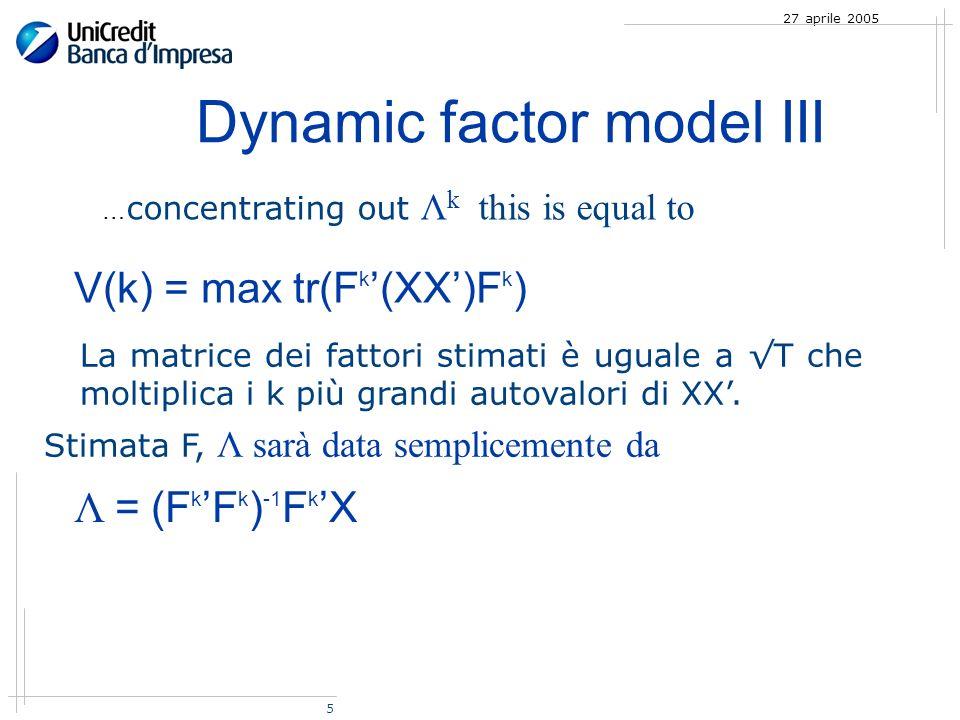 5 27 aprile 2005 Dynamic factor model III La matrice dei fattori stimati è uguale a T che moltiplica i k più grandi autovalori di XX.