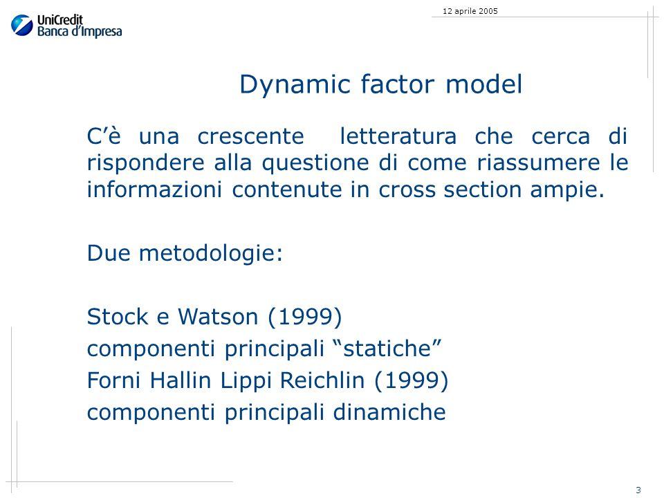 3 12 aprile 2005 Dynamic factor model Cè una crescente letteratura che cerca di rispondere alla questione di come riassumere le informazioni contenute in cross section ampie.