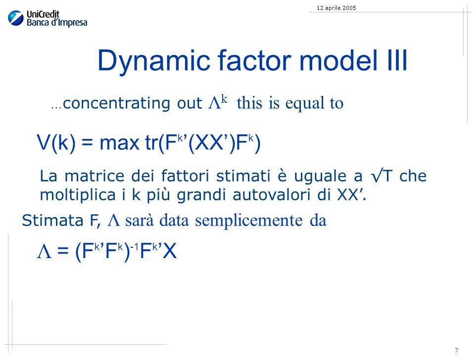 7 12 aprile 2005 Dynamic factor model III La matrice dei fattori stimati è uguale a T che moltiplica i k più grandi autovalori di XX. Stimata F, Λ sar