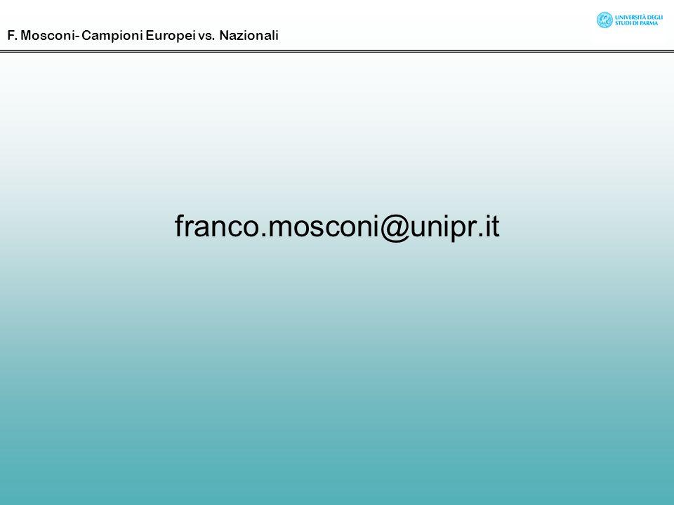 franco.mosconi@unipr.it F. Mosconi- Campioni Europei vs. Nazionali