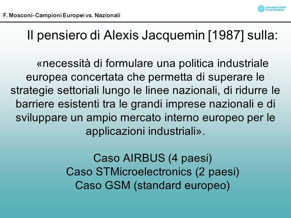 Il pensiero di Alexis Jacquemin [1987] sulla: «necessità di formulare una politica industriale europea concertata che permetta di superare le strategi