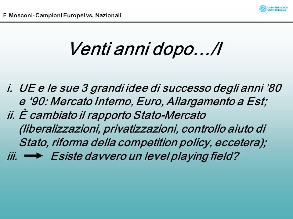 Venti anni dopo…/I i.UE e le sue 3 grandi idee di successo degli anni 80 e 90: Mercato Interno, Euro, Allargamento a Est; ii.È cambiato il rapporto St