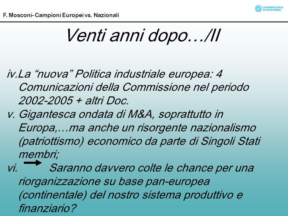 Venti anni dopo…/II iv.La nuova Politica industriale europea: 4 Comunicazioni della Commissione nel periodo 2002-2005 + altri Doc. v. Gigantesca ondat