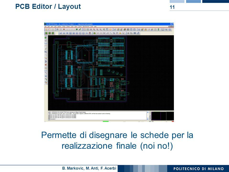 B. Markovic, M. Anti, F. Acerbi 11 PCB Editor / Layout Permette di disegnare le schede per la realizzazione finale (noi no!)
