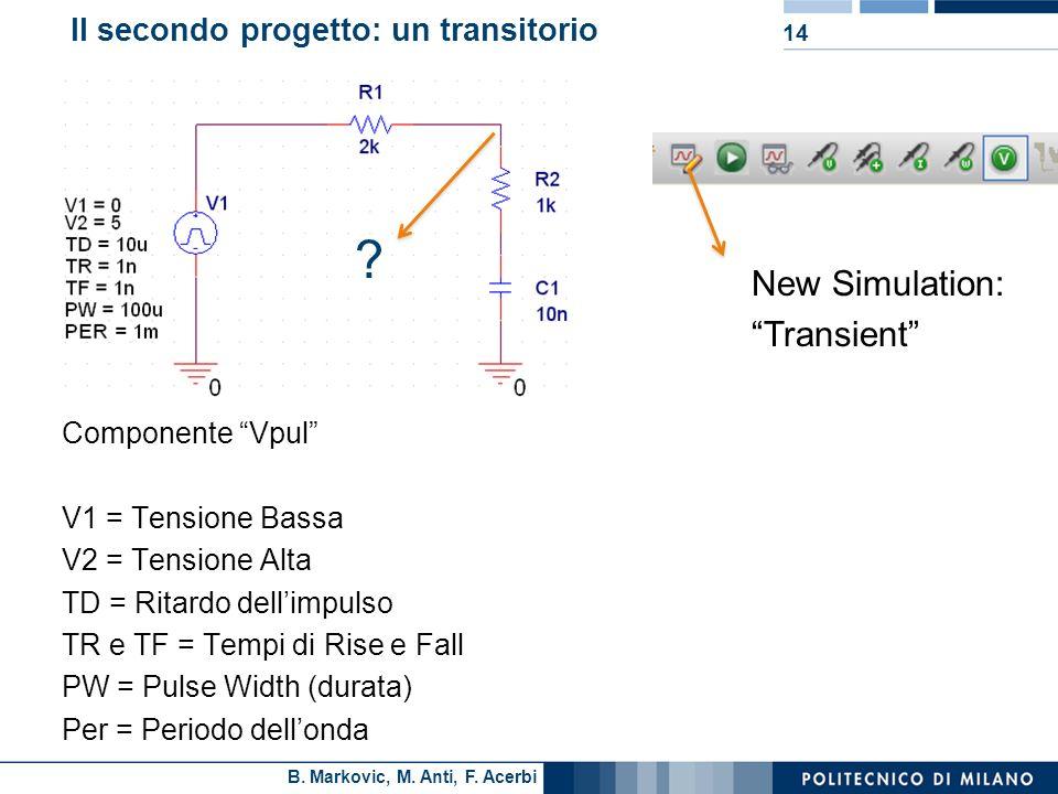 B. Markovic, M. Anti, F. Acerbi Il secondo progetto: un transitorio Componente Vpul V1 = Tensione Bassa V2 = Tensione Alta TD = Ritardo dellimpulso TR