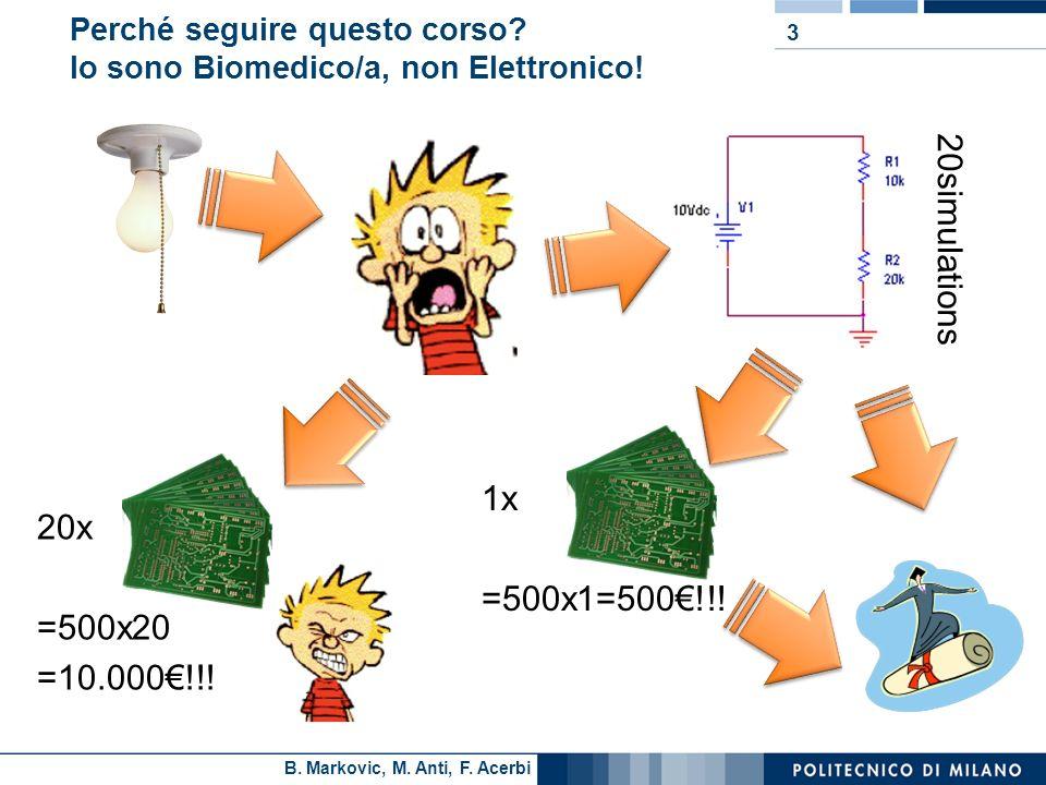 B. Markovic, M. Anti, F. Acerbi Perché seguire questo corso? Io sono Biomedico/a, non Elettronico! 3 20simulations 20x =500x20 =10.000!!! 1x =500x1=50