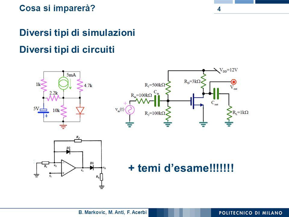 B. Markovic, M. Anti, F. Acerbi Cosa si imparerà? Diversi tipi di simulazioni Diversi tipi di circuiti 4 + temi desame!!!!!!!