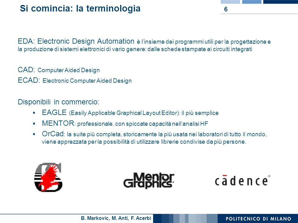 B. Markovic, M. Anti, F. Acerbi 6 Si comincia: la terminologia EDA: Electronic Design Automation è linsieme dei programmi utili per la progettazione e