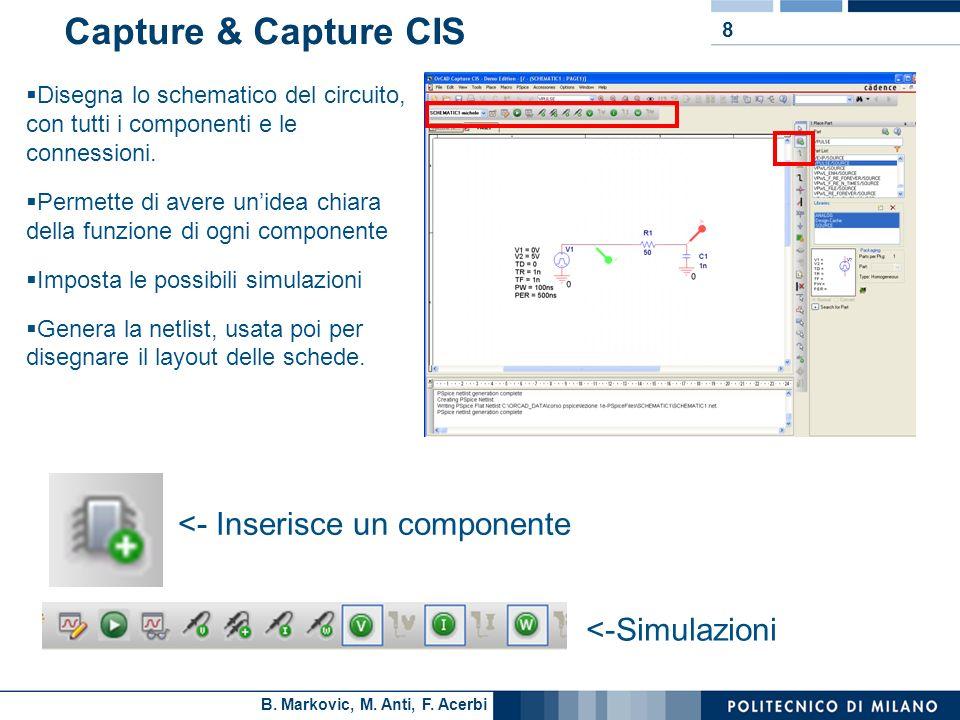 B. Markovic, M. Anti, F. Acerbi 8 Capture & Capture CIS Disegna lo schematico del circuito, con tutti i componenti e le connessioni. Permette di avere
