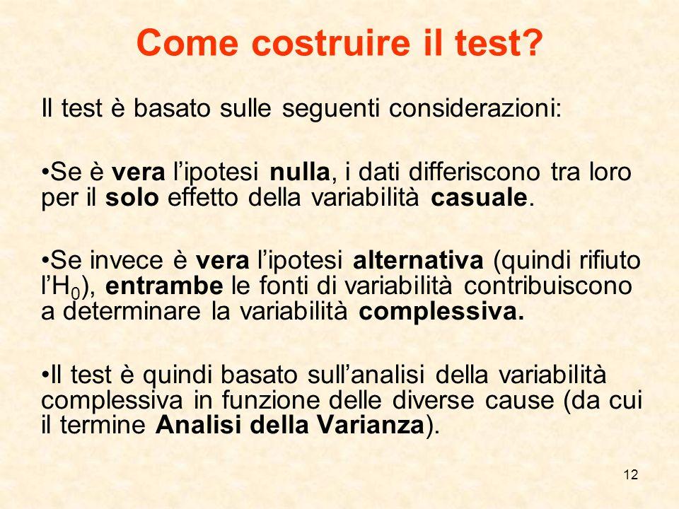 12 Come costruire il test? Il test è basato sulle seguenti considerazioni: Se è vera lipotesi nulla, i dati differiscono tra loro per il solo effetto