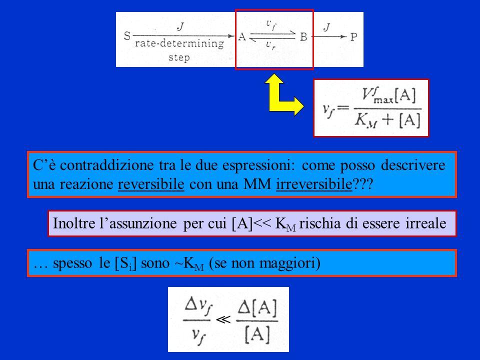 Inoltre lassunzione per cui [A]<< K M rischia di essere irreale Cè contraddizione tra le due espressioni: come posso descrivere una reazione reversibi