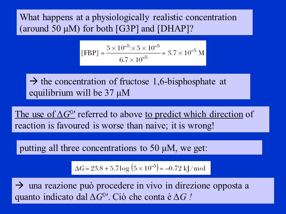 What happens at a physiologically realistic concentration (around 50 μM) for both [G3P] and [DHAP]? the concentration of fructose 1,6-bisphosphate at