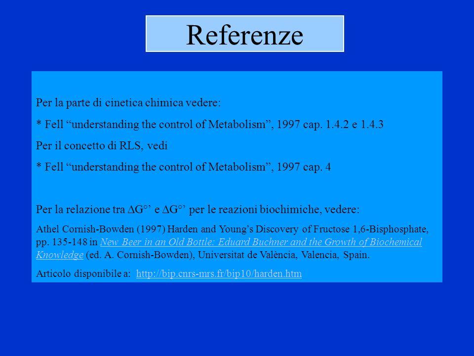 Referenze Per la parte di cinetica chimica vedere: * Fell understanding the control of Metabolism, 1997 cap. 1.4.2 e 1.4.3 Per il concetto di RLS, ved
