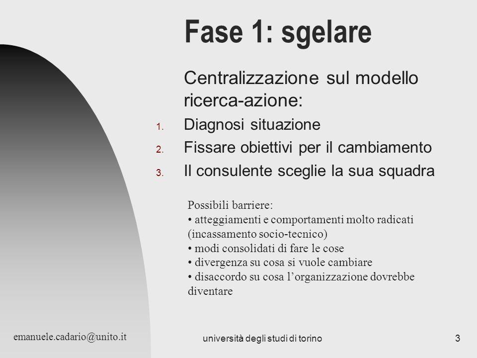 università degli studi di torino3 Fase 1: sgelare Centralizzazione sul modello ricerca-azione: 1. Diagnosi situazione 2. Fissare obiettivi per il camb
