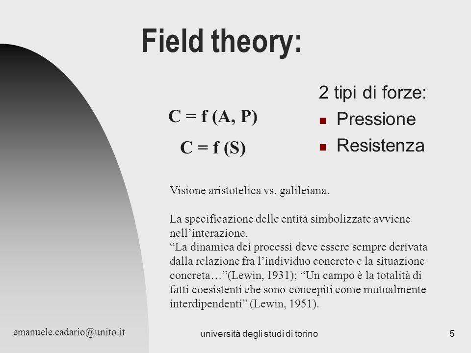 università degli studi di torino5 Field theory: 2 tipi di forze: Pressione Resistenza C = f (A, P) Visione aristotelica vs. galileiana. La specificazi