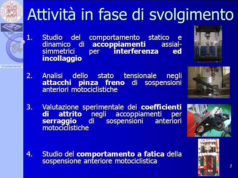 DIEM 2 1.Studio del comportamento statico e dinamico di accoppiamenti assial- simmetrici per interferenza ed incollaggio 2.Analisi dello stato tension