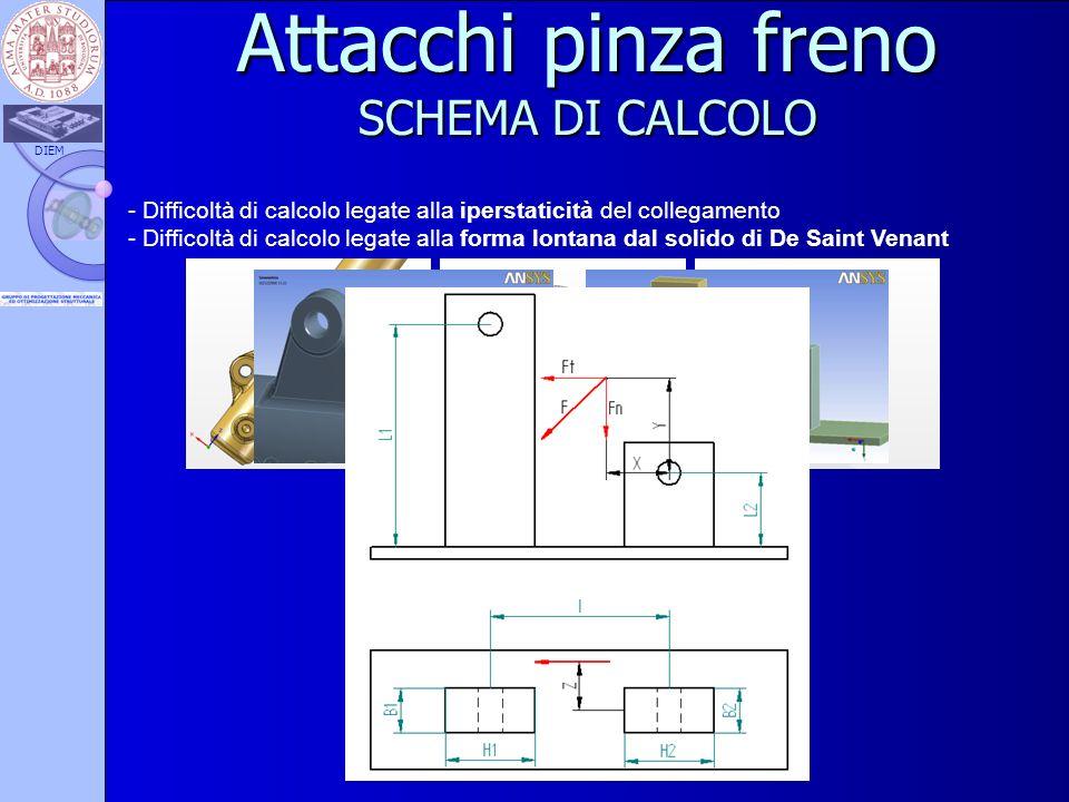 DIEM Attacchi pinza freno SCHEMA DI CALCOLO - Difficoltà di calcolo legate alla iperstaticità del collegamento - Difficoltà di calcolo legate alla for