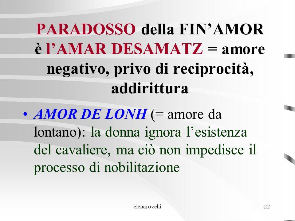 elenarovelli22 PARADOSSO della FINAMOR è lAMAR DESAMATZ = amore negativo, privo di reciprocità, addirittura AMOR DE LONH (= amore da lontano): la donn