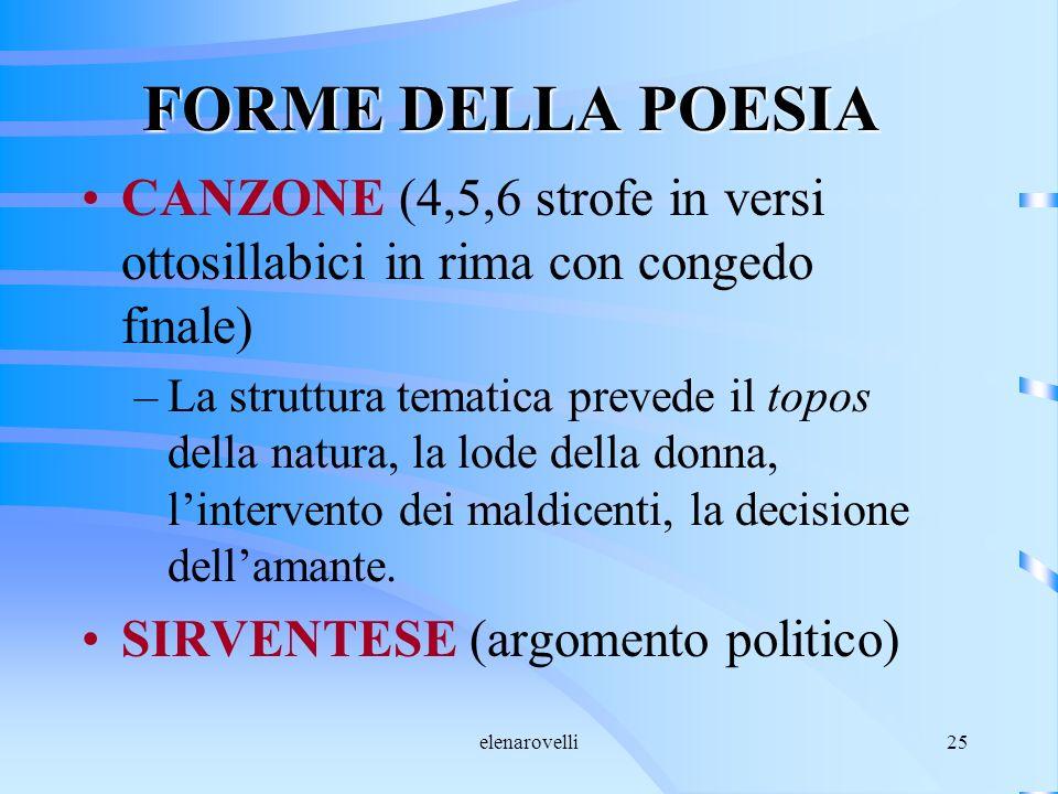 elenarovelli25 FORME DELLA POESIA CANZONE (4,5,6 strofe in versi ottosillabici in rima con congedo finale) –La struttura tematica prevede il topos del