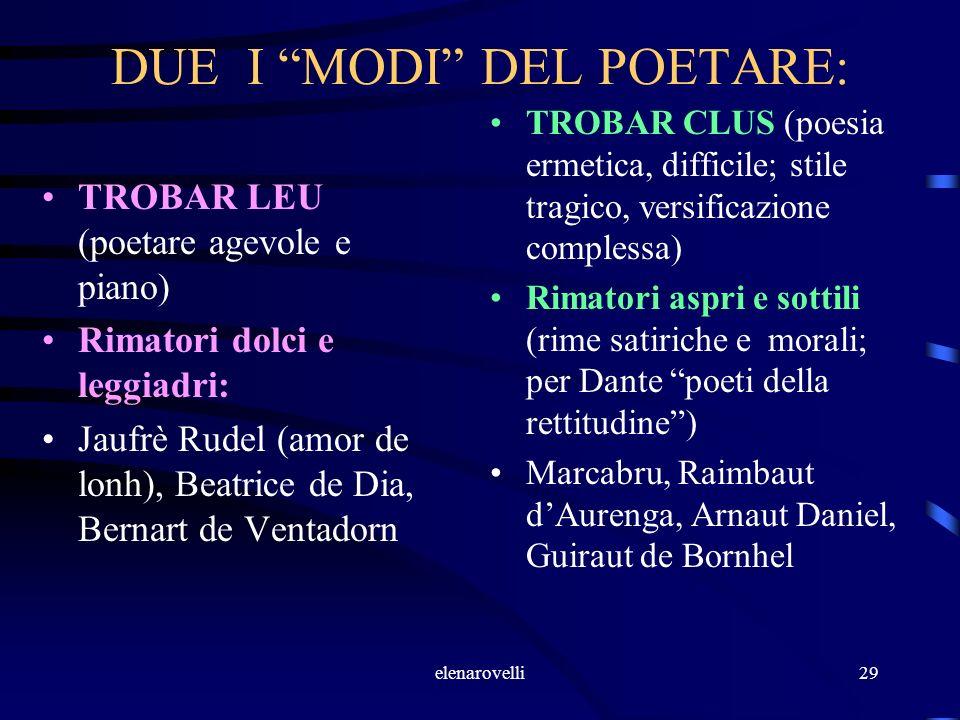 elenarovelli29 DUE I MODI DEL POETARE: TROBAR LEU (poetare agevole e piano) Rimatori dolci e leggiadri: Jaufrè Rudel (amor de lonh), Beatrice de Dia,