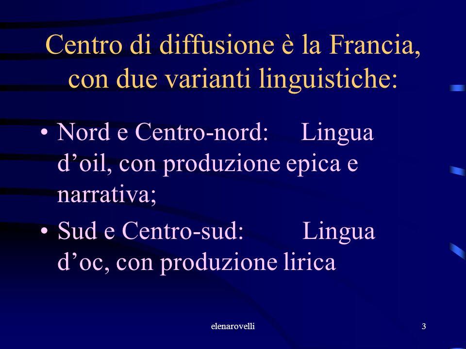 elenarovelli3 Centro di diffusione è la Francia, con due varianti linguistiche: Nord e Centro-nord: Lingua doil, con produzione epica e narrativa; Sud