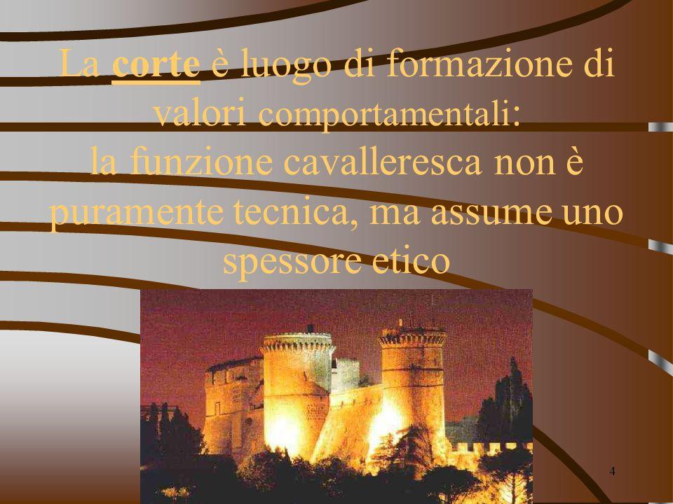 elenarovelli4 La corte è luogo di formazione di valori comportamentali : la funzione cavalleresca non è puramente tecnica, ma assume uno spessore etic