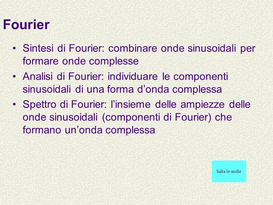 TEOREMA DI FOURIER Il teorema di Fourier afferma che: «qualunque funzione periodica, finita, continua può essere rappresentata mediante una somma di funzioni sinusoidali pure, pesate da opportuni coefficienti, nei cui argomenti compaiono tutte le frequenze (le armoniche) multiple di una frequenza fondamentale, caratterizzante la periodicità della funzione» Lanalisi di Fourier è quel procedimento che conduce alla serie di armoniche che costituiscono un suono.