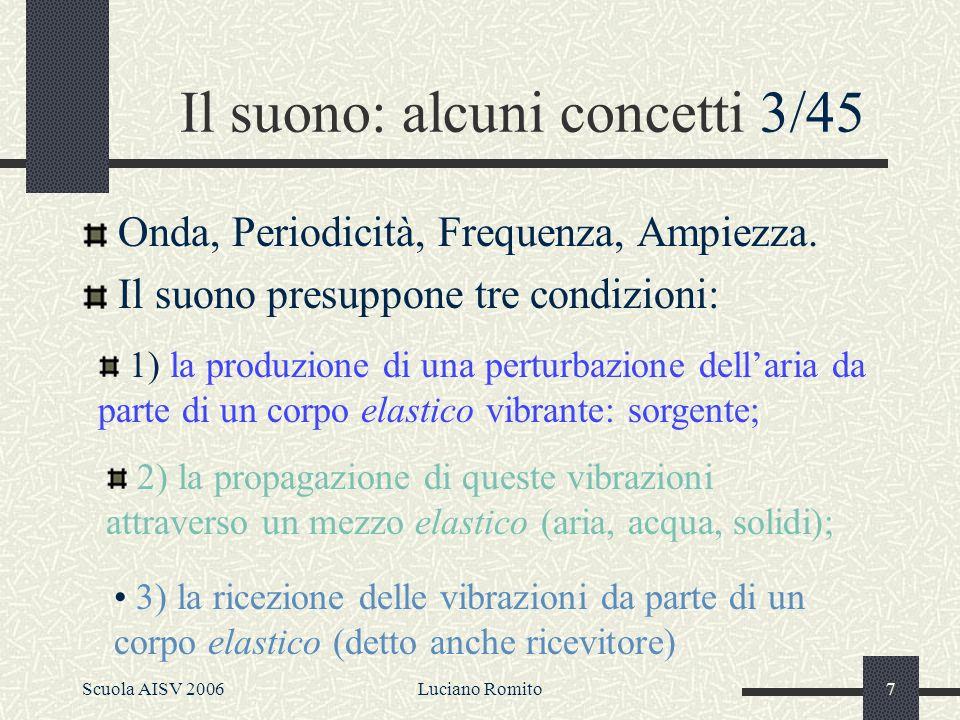 Scuola AISV 2006Luciano Romito6 La teoria Sorgente Filtro 2/45 La Fonetica Acustica si occupa delle caratteristiche fisiche dei singoli suoni (flusso