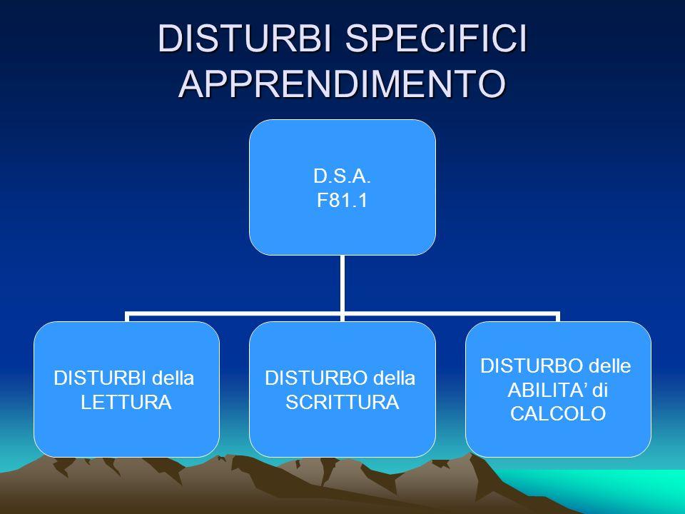 DISTURBI SPECIFICI APPRENDIMENTO D.S.A.