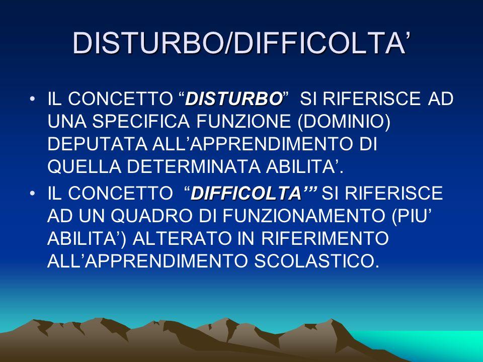 DISTURBO/DIFFICOLTA DISTURBOIL CONCETTO DISTURBO SI RIFERISCE AD UNA SPECIFICA FUNZIONE (DOMINIO) DEPUTATA ALLAPPRENDIMENTO DI QUELLA DETERMINATA ABILITA.