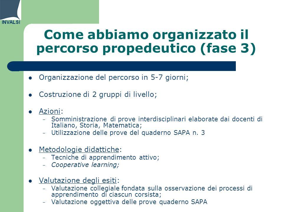 INVALSI Come abbiamo organizzato il percorso propedeutico (fase 3) Organizzazione del percorso in 5-7 giorni; Costruzione di 2 gruppi di livello; Azio