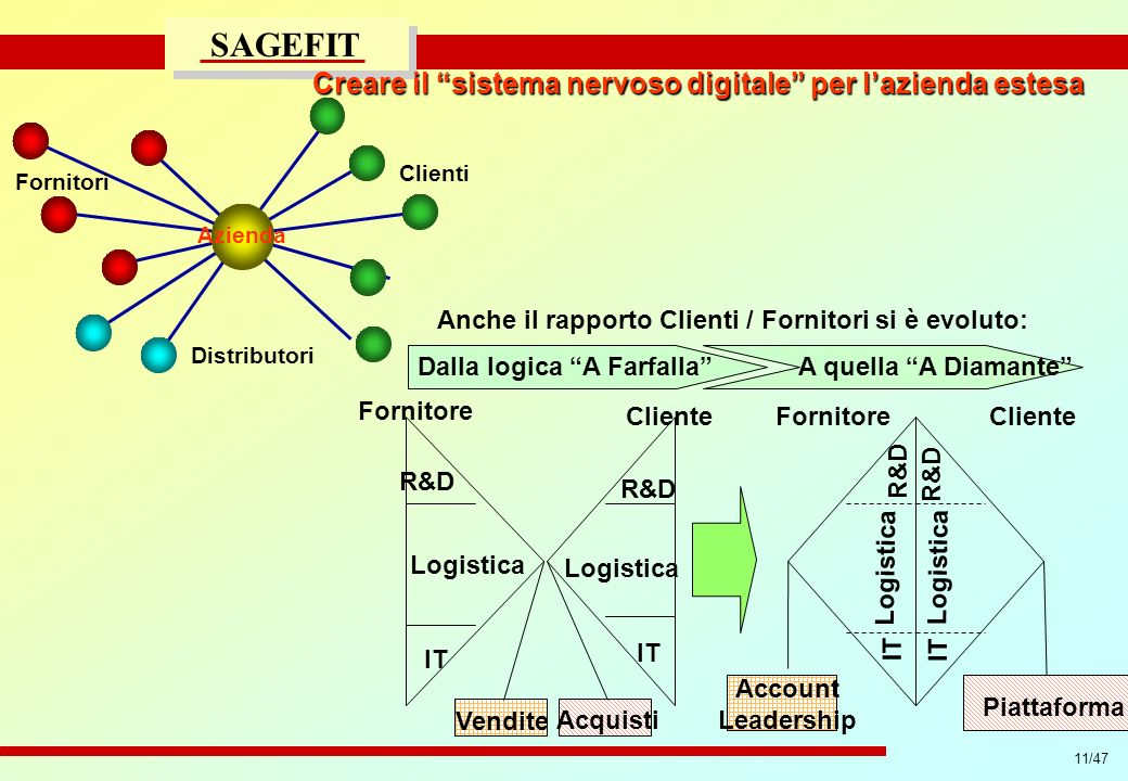 11/47 progetto di massima/esecutivo SAGEFIT Fornitore Cliente R&D IT Logistica FornitoreCliente R&D IT Logistica Account Leadership Piattaforma Acquis