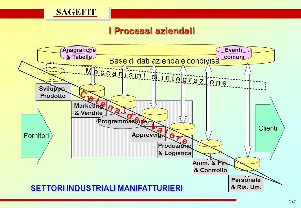 18/47 progetto di massima/esecutivo SAGEFIT I Processi aziendali Sviluppo Prodotto Marketing & Vendite Approvvig. Programmazione Produzione & Logistic