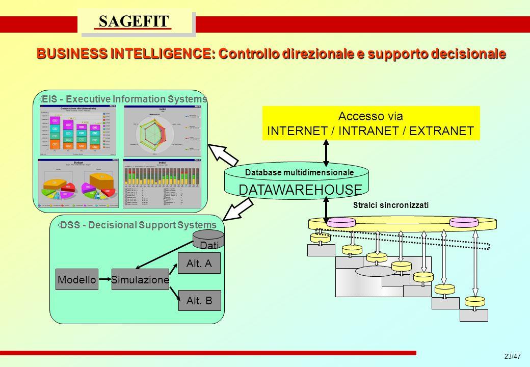 23/47 progetto di massima/esecutivo SAGEFIT BUSINESS INTELLIGENCE: Controllo direzionale e supporto decisionale DSS - Decisional Support Systems Model