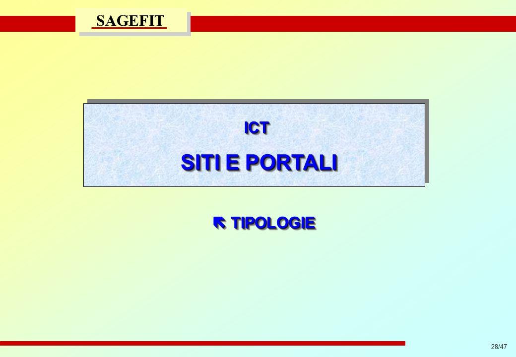 28/47 progetto di massima/esecutivo SAGEFIT ICT SITI E PORTALI ICT TIPOLOGIE TIPOLOGIE