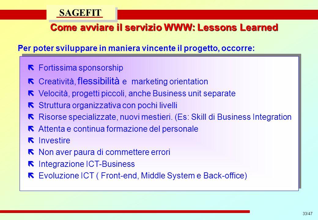 33/47 progetto di massima/esecutivo SAGEFIT Per poter sviluppare in maniera vincente il progetto, occorre: ëFortissima sponsorship ëCreatività, flessi