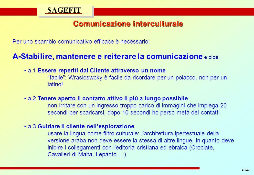 40/47 progetto di massima/esecutivo SAGEFIT Comunicazione interculturale Per uno scambio comunicativo efficace è necessario: A-Stabilire, mantenere e