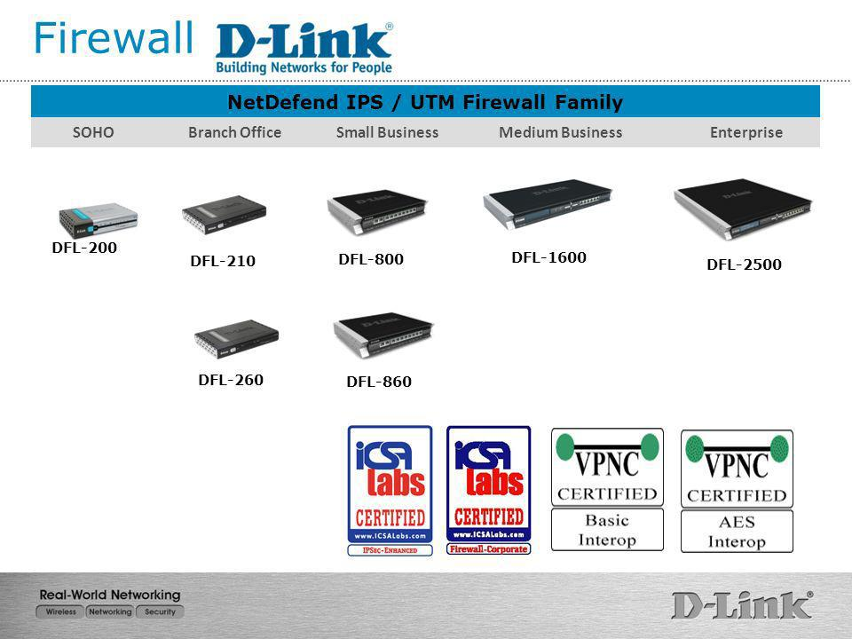 NetDefend IPS / UTM Firewall Family SOHO Branch Office Small Business Medium Business Enterprise DFL-800 DFL-210 DFL-1600 DFL-2500 DFL-260 DFL-860 DFL